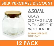 12 x 650ml SQUARE Glass Food Storage Jar Set Canister with Airtight Wooden Lid
