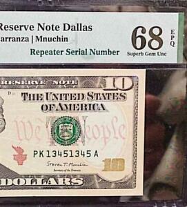 REPEATER  SERIAL # 1345 1345   2017A $10 FR Note PMG SUPERB GEM UNC 68 EPQ