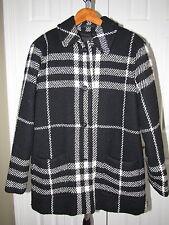 Burberry London Black Off White Plaid Wool Jacket Coat size 10 Oversized Fit