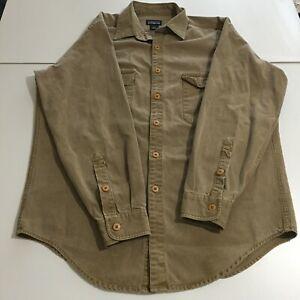 Patagonia Mens Large Long Sleeve Button Khaki Shirt Outdoor