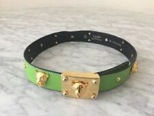 Escada Vintage Green Leather Belt, Gold Studs, Tiger Head Embellishment