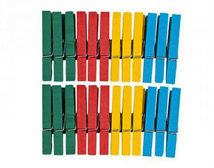 24 Assorted 7cm Painted Wooden Clothes Pegs   Wooden Shapes for Crafts