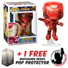 FUNKO POP MARVEL AVENGERS 3 IRON MAN RED CHROME EXCLUSIVE + FREE POP PROTECTOR