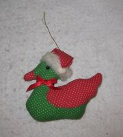 Christmas Ornament Holiday Tree Decoration Red & Green Duck with Santa Hat
