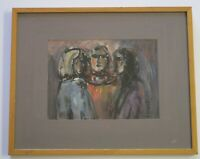 HAROLD FRANK SIGNED PAINTING 1960'S ABSTRACT PEOPLE  MODERNISM EXPRESSIONISM