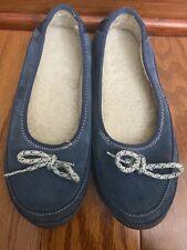 LL BEAN Women's Hearthside  Blue/Gray Shearling Slipper Size 6 Medium