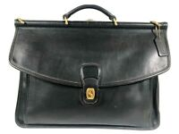 Vtg Coach Beekman style Briefcase Black Messenger Bag D7C-5266 USA Saddle Flap