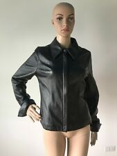 Attention Black Genuine Leather Jacket Coat Zipper Front + Snap Cuffed Sleeves M