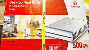 IOMEGA Desktop Hard Drive Hi-Speed USB 2.0 PC/Mac 500GB from 2008 brand new