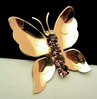"""Rare Vintage 1-3/4"""" Signed Coro Sterling Craft Rhinestone Butterfly Brooch Pin"""