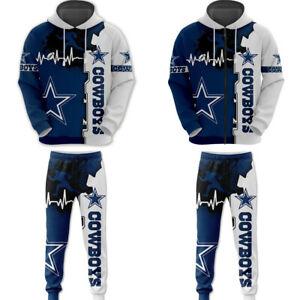 Dallas Cowboys 2PCS Tracksuit Set Hoodie Sweatpants Jogging Sweatsuit Sportswear
