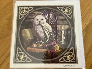 Lisa Parker Spellkeeper Owl Design Greetings Card Artwork. Blank inside