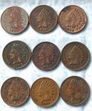 1900,1901,1902,1903,1904,1905,1906,1907,1908 Indian Head cent pennies  bg