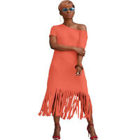 Sexy Women Crew Neck Short Sleeves Tassels Casual Summer Party Club Long Dress