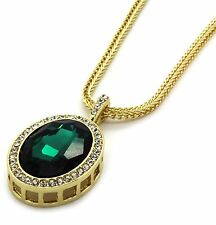 """Mens 14k Gold Plated Iced Out Green Cz Oval Pendant Hip-Hop 30"""" Franco Chain"""