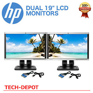 """DUAL HP 19"""" LCD Monitors Matching Model Pair with cables - Bright and Sharp"""