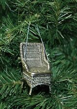 Vintage, Antique Looking Pewter Wicker Chair Christmas Ornament