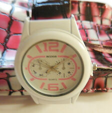Watch Womans Cuff/with matching Phone Case-round white face-pink white black
