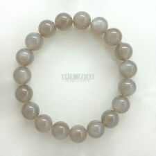 SALE Gray Moonstone Round Beads/Stretch Bracelet ap.10mm Silver Flash #19387