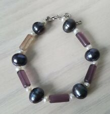 FRESHWATER PEARL AND AMETHYST TUBE BRACELETS 925 STERLING SILVER LOBSTER CLAWS