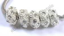 Big Hole Crystal Rhinestone Pave Rondelle Loose Spacer Beads Fit European Charms
