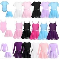 Girls Kids Ballet Leotard Dance Dress+Chiffon Wrap Tutu Skirt Gymnastics Costume