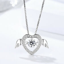 "Womens Sterling Silver Heart Love Wings Pendant Dancing Charm Necklace 18"" Chain"