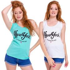 Ladies Boat Neck Tee Sleeveless Vest Women Top New York Blouse Sizes M-XL FB309