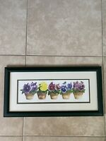 Watercolor Print Carolyn Oltman Pots Pansies Framed Matted 24x12 Farmhouse Decor