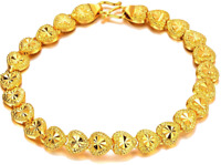 Valentine's 24k Yellow Gold Bracelets Womens Linked Hearts Wide + Gift Pkg D149