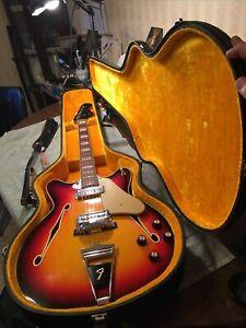 1966 Fender Coronado 2 Electric Hollow Body Guitar W/hard Shell Case All Origina