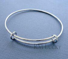 Expandable wire bangle charm bracelet Stainless Steel plain Adjustable  S-M  b13