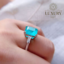 Paraiba Tourmaline Octagon Engagement Ring 925 Sterling Silver Wedding Bands