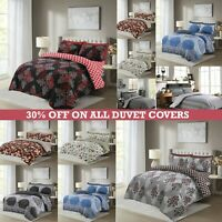 Floral Duvet Cover Set 4 Piece Quilted Bedding Set Double King Size & Pillowcase