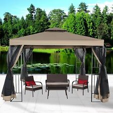 10'x10' Double Tier Top Outdoor Gazebo Canopy Sun Shelter Tent Mosquito Netting