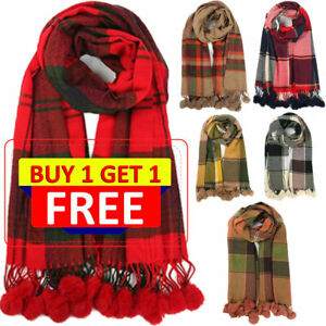 UK Women Ladies Long Check Tartan Pom Pom Scarf Large Shawl Tassels Scarf Wraps