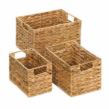Rectangular Nesting Baskets Set 3 Thick Hyacinth Straw Decorative Organization