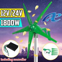1800W 12V 24V Wind Turbine Generator Kits Horizontal Battery Charge + Controller