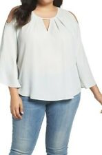 Melissa McCarthy Seven7 Casual Cold Shoulder Top V-Neck Bell-Sleeve-plus size 3x