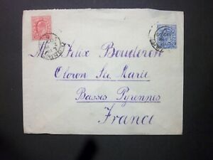 GB Late Fee 1909 KEVII 21/2d + 1d Envelope LONDON 5 Hooded Circles to France