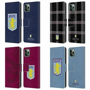 ASTON VILLA FOOTBALL CLUB CREST LEATHER BOOK CASE FOR APPLE iPHONE PHONES