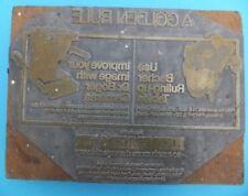 Vintage Golden Rule letterpress Ink publicité metal Printing Block PRESS RARE