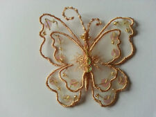 """Gold Sew On Satin Sequin Butterfly Motif Applique Trimmings 6.5cm x 6.5cm 2.5"""""""