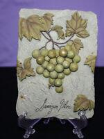 "Faux Stone  3D Wall Decor Hanging Plaque Grapes 4.5"" x 6.25"" Sauvignon Blanc"