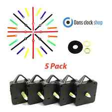 New 5 Pack Quartz Clock Movements Mechanisms Motors Coloured Plastic Hands