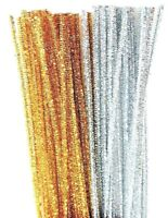 100 Gold and Silver Tinsel Pipe Cleaners Crafts  Stems 30cm  x 6mm