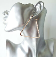 Gorgeous large plain ROSE gold tone TRIANGLE shape hoop earrings - 6.5cm - 2.5""