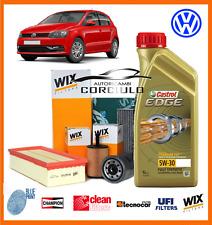 KIT TAGLIANDO OLIO CASTROL 5W30 + FILTRI VW POLO (6R) 1.6 TDI 66KW DAL 2009