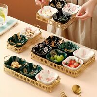 Serving Snacks Bowls with Golden Tray