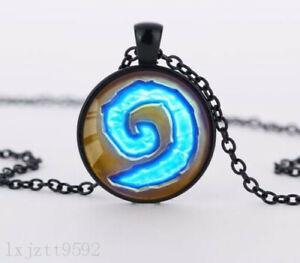 Swirls Charm Glass Dome Cabochon Black Chain Necklace Pendant Jewelry (WC123)